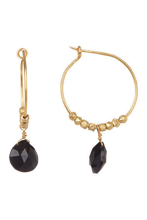 Paris Hoop Earring with Drop-Black Onyx