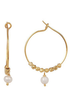 Chantilly Stone and Pearl Hoop Earrings