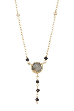 Paris Lariat Necklace - Labradorite, Citrine, & Black Onyx Stones
