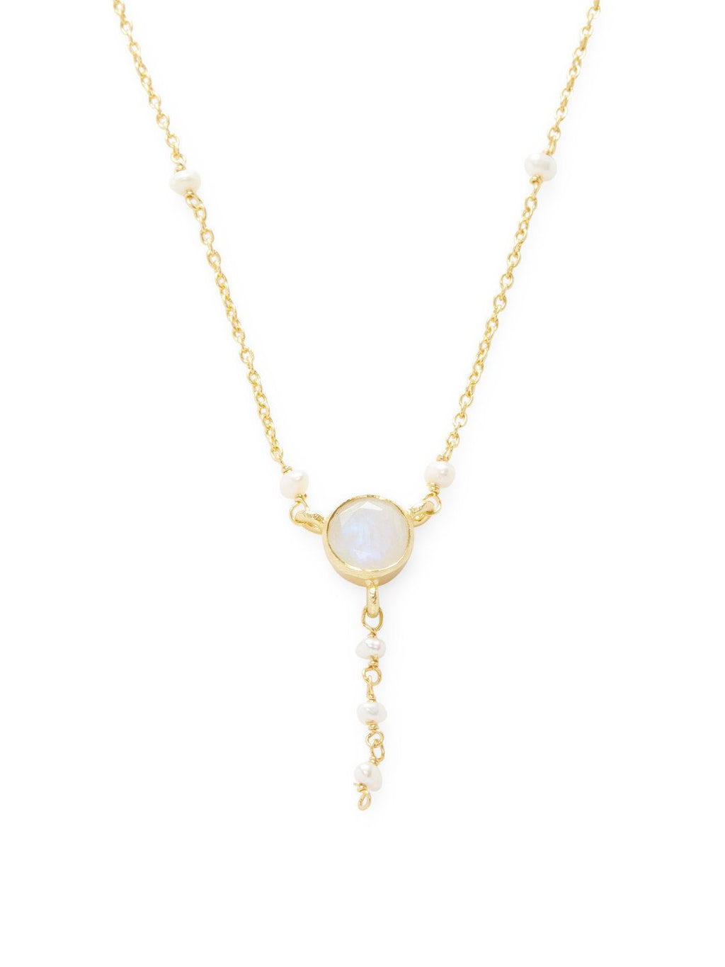 Chantilly Lariat Moonstone & Pearl Necklace