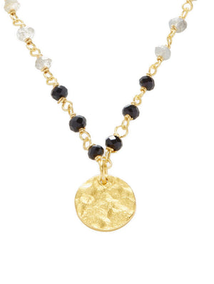 Paris Coin Necklace - Black Onyx & Labradorite