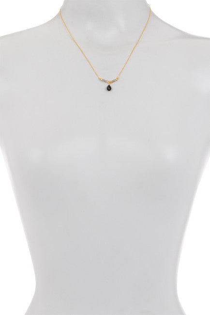 Paris Single Line Necklace – Labradorite, Citrine, & Black Onyx Stones