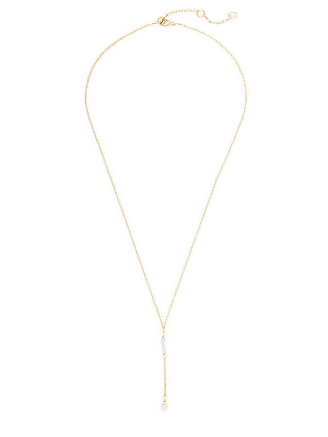 Chantilly Minimal Lariat Necklace Moonstone and Pearl