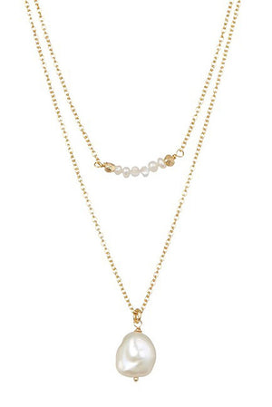 Chantilly Bar & Y Necklace Pearls with Moon Stones