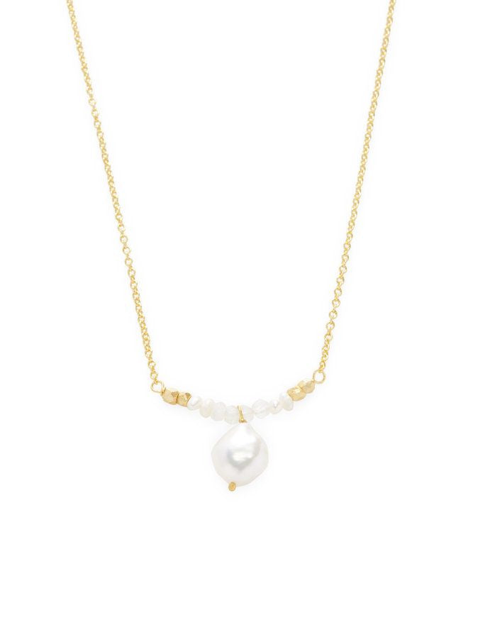 Chantilly Single Line Necklace with Moonstones & Fresh Water Pearls