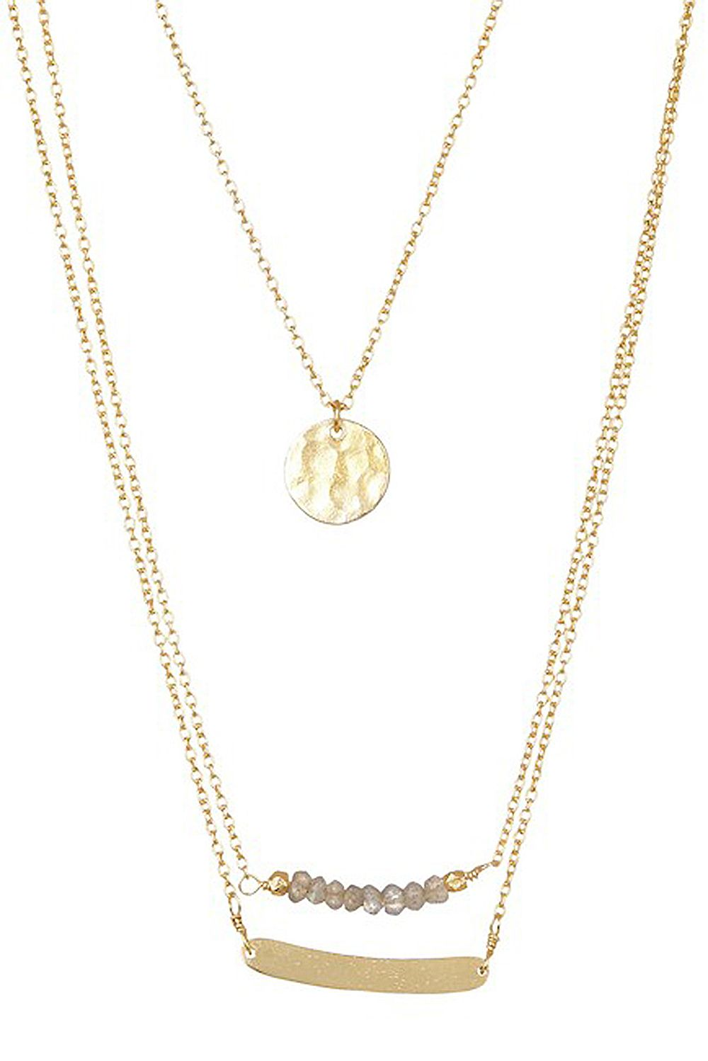 Paris Triple Strand Coin and Bar Necklace