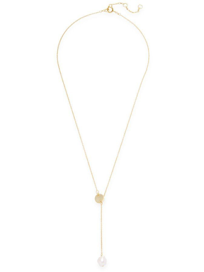 Chantilly Lariat Necklace with Disc Pearl and Plain