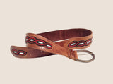 Embellished Leather Belt-Brown, Red & Black