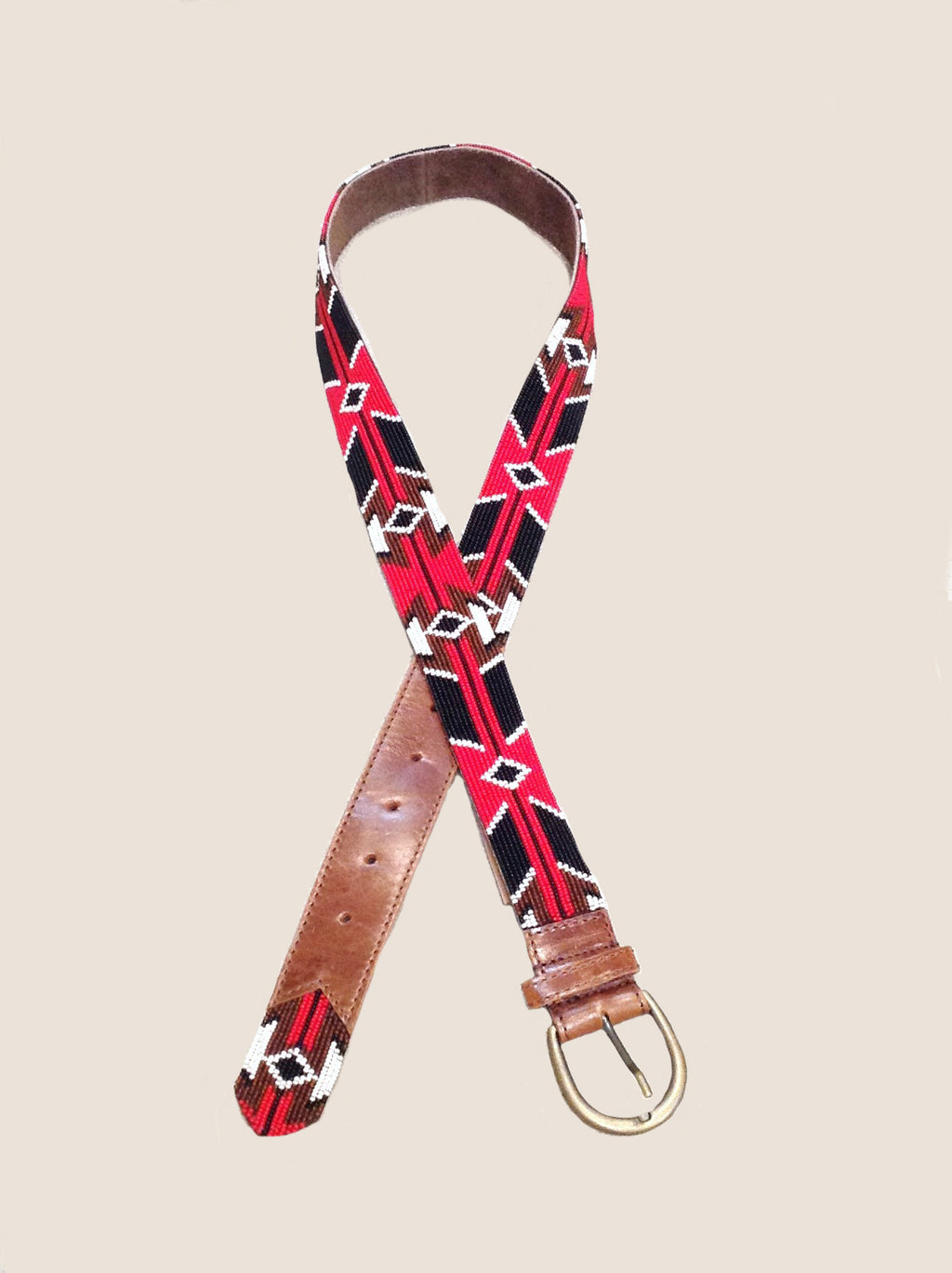 Embellished Leather Belt-Black, Red & Brown