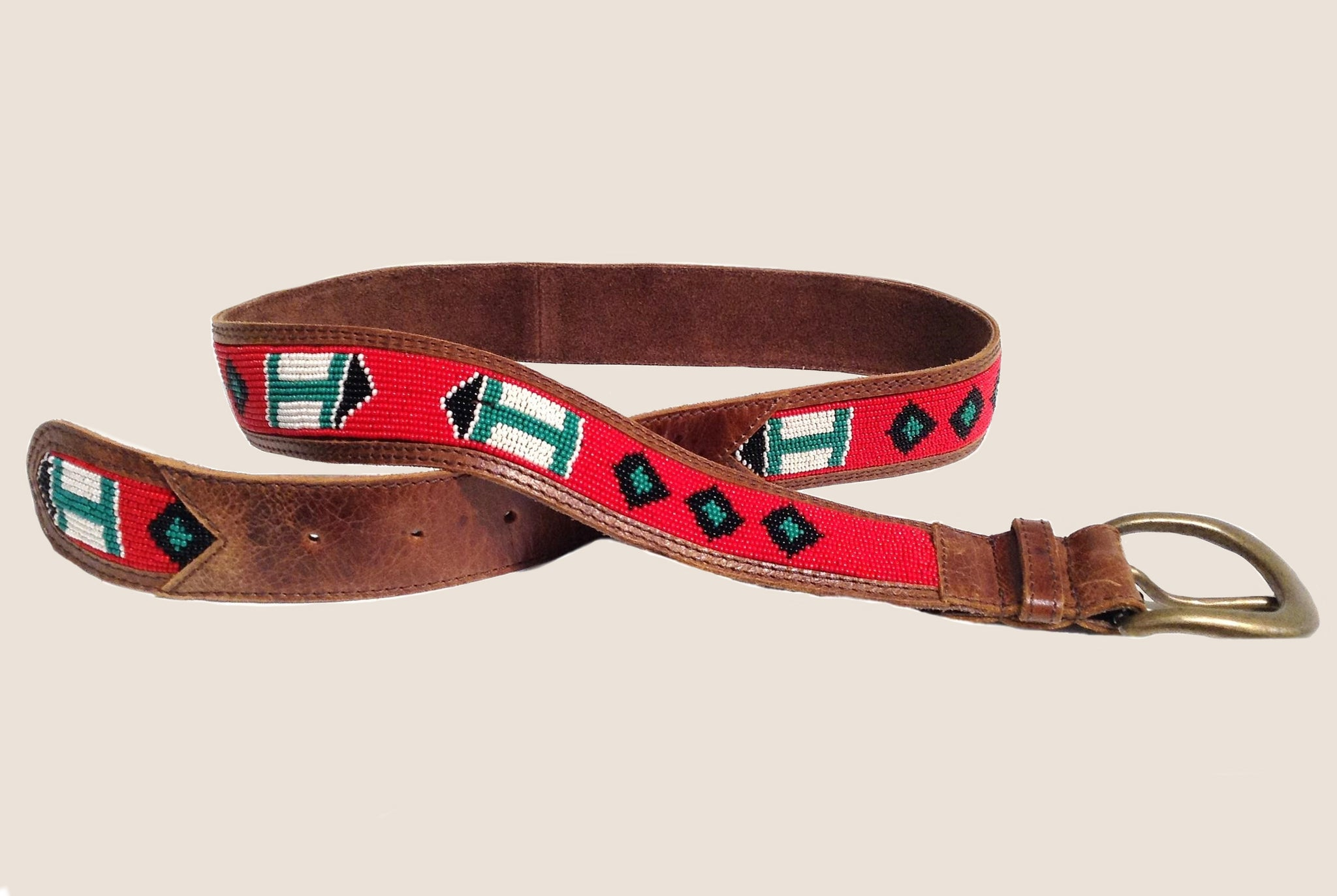 Embellished Leather Belt-Brown, Red & Turq