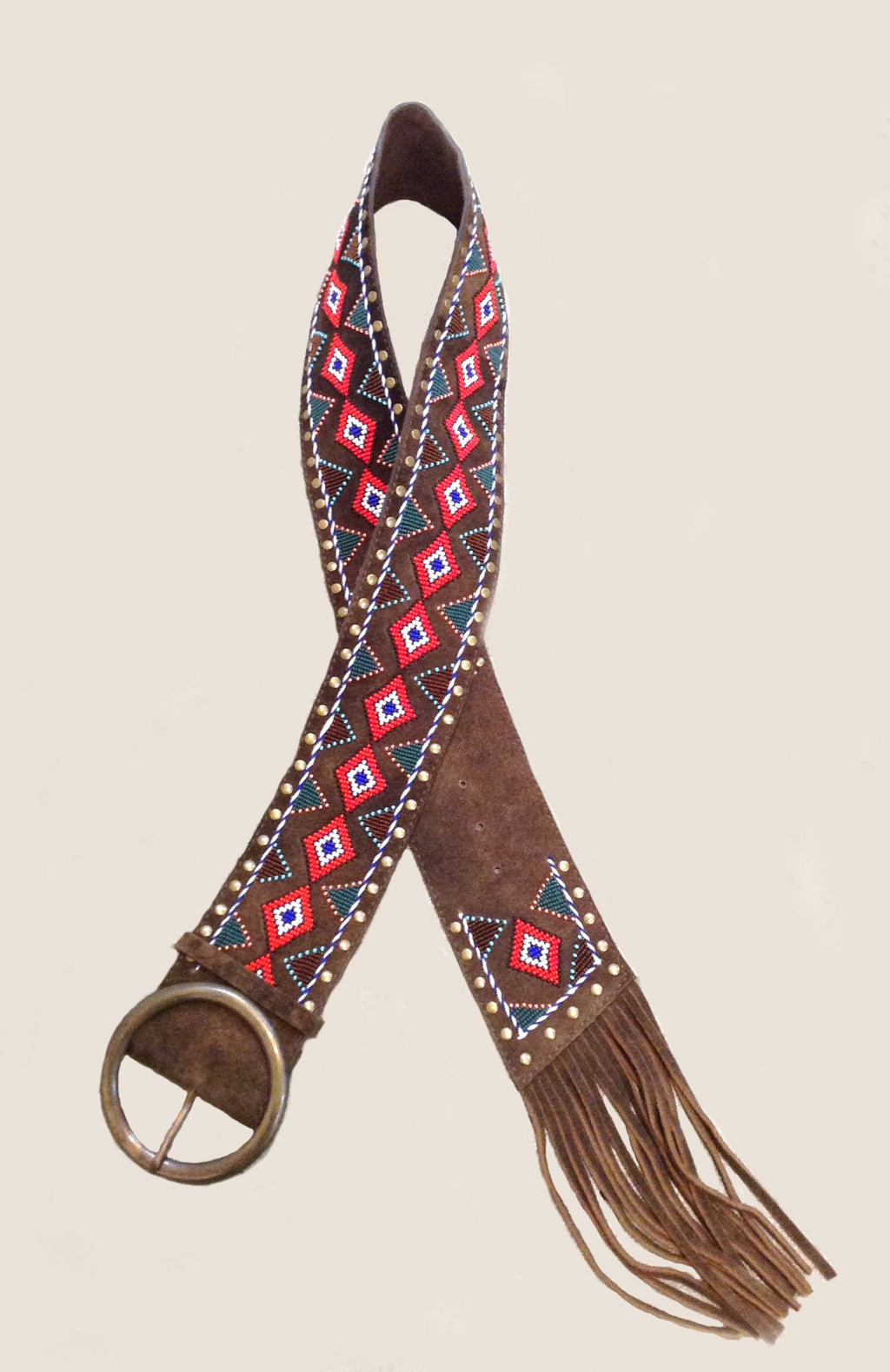 Embellished Leather Belt-Brown, Blue & Red