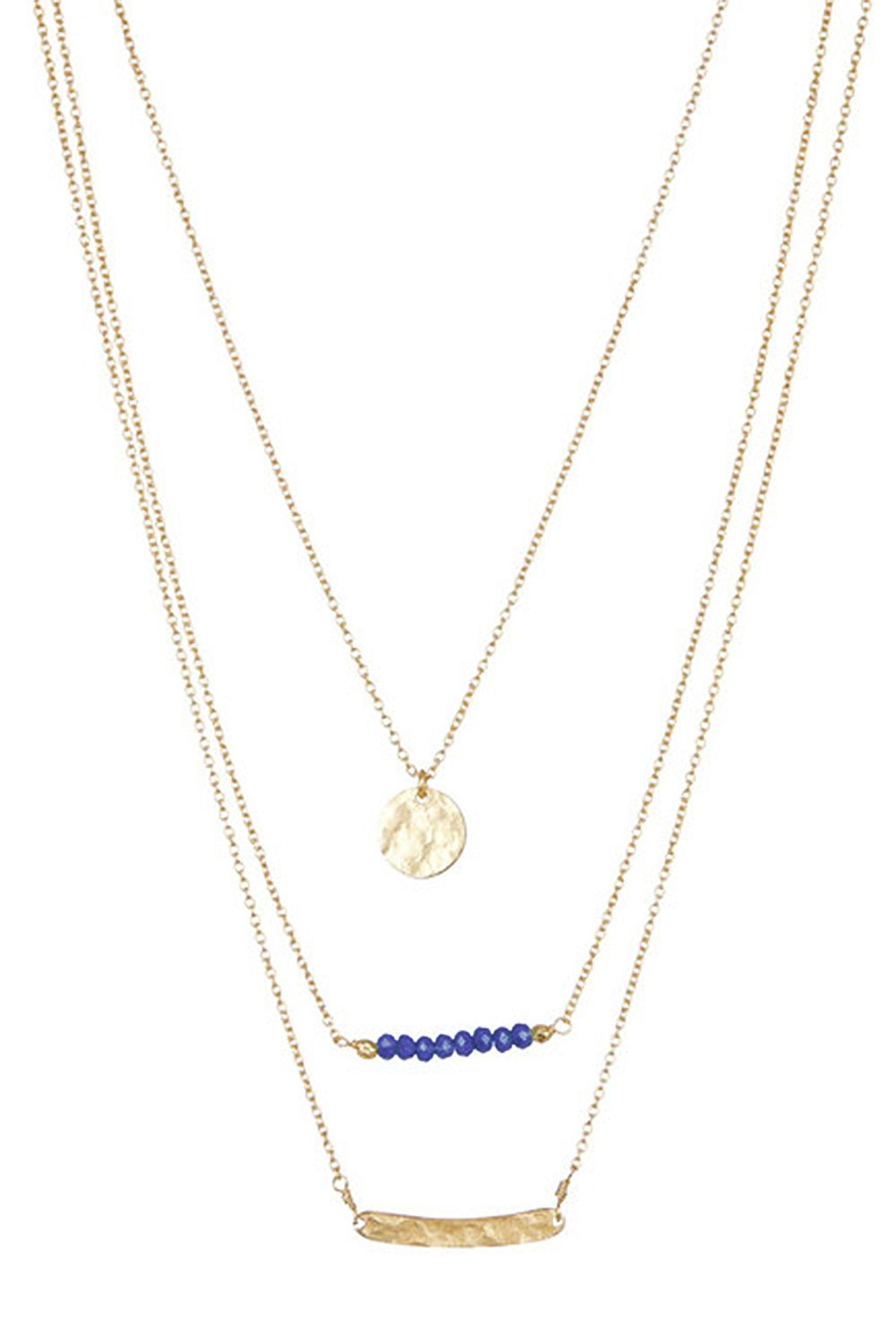 Laguna Triple Strand Coin and Bar Necklace