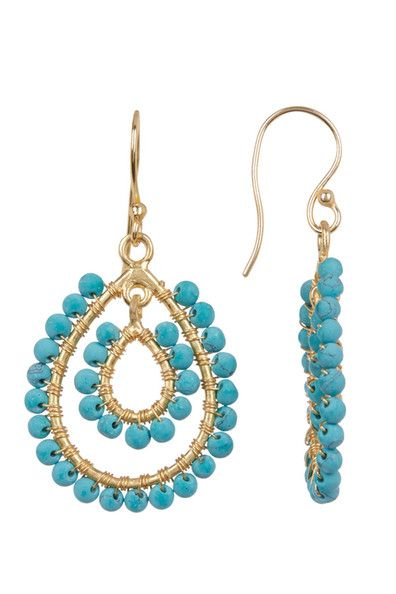 Turquoise Quartz Stone Earrings