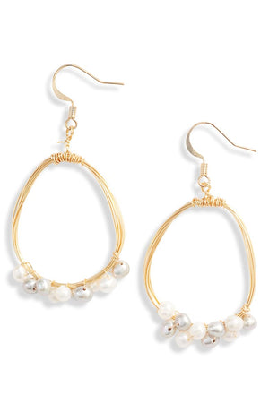 Drop Earrings Thread & Pearls