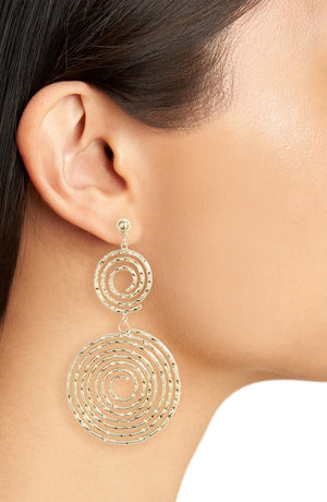 Hammered Spiral Drop Earrings