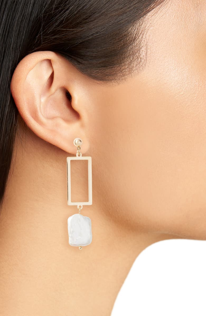 Geometric Genuine Pearl Drop Earrings