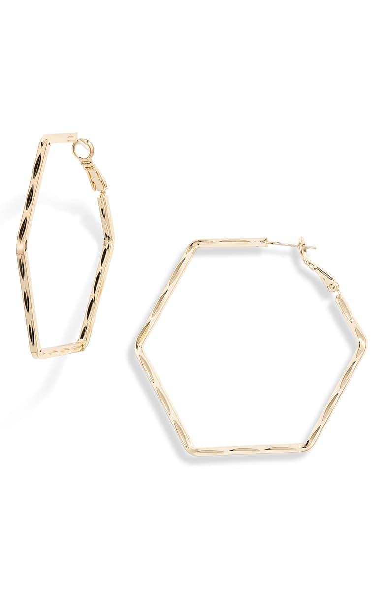 Textured Hexagon Hoop Earrings