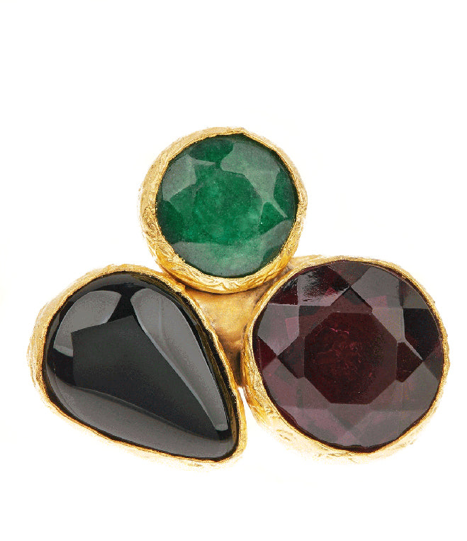 Triple Cluster Ring- Emerald, Amethyst & Black Onyx