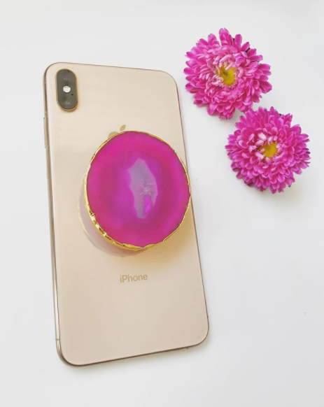 Fuschia Agate Phone Grip