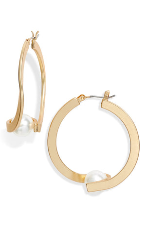 Pearl Gold Plated Hoop Earrings