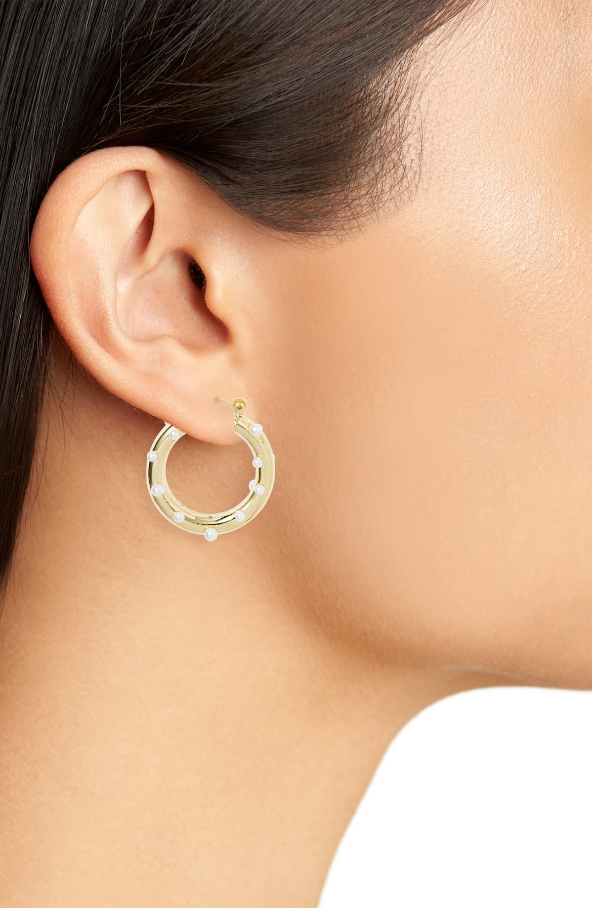 Pearl Embellished Hoop Earrings