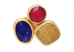 Triple Cluster Ring- Ruby, Yellow Calcite, Lapis Azul