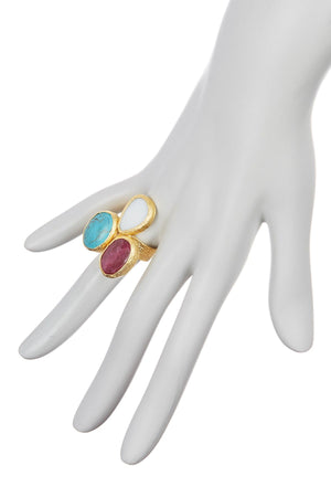 Triple Cluster Ring- Turquoise, Mother of Pearl & Ruby