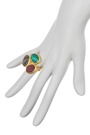 Triple Cluster Ring- Emerald, Ruby, Black Onyx