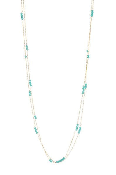 Laguna Collections Double Stranded Aqua Chalcedony Stones Necklace