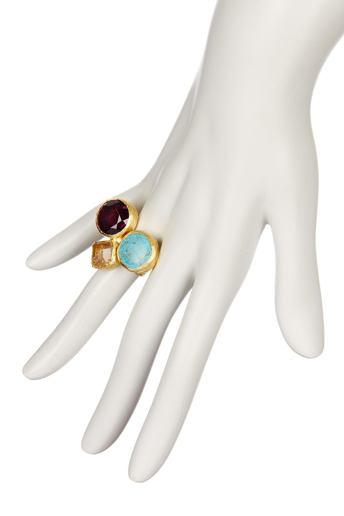 Triple Cluster Ring- Citrine, Turquoise, Amethyst