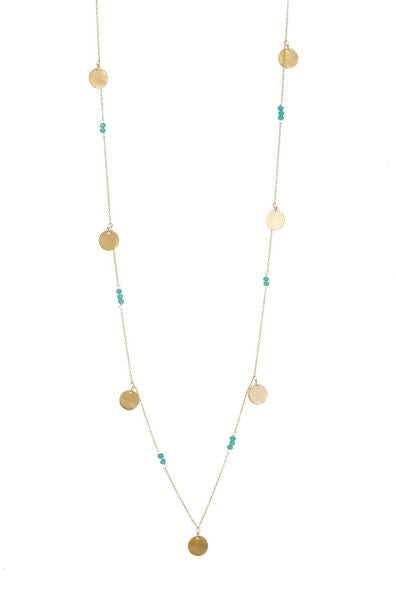 Laguna Collections Coin & Aqua Chalcedony Stones Necklace