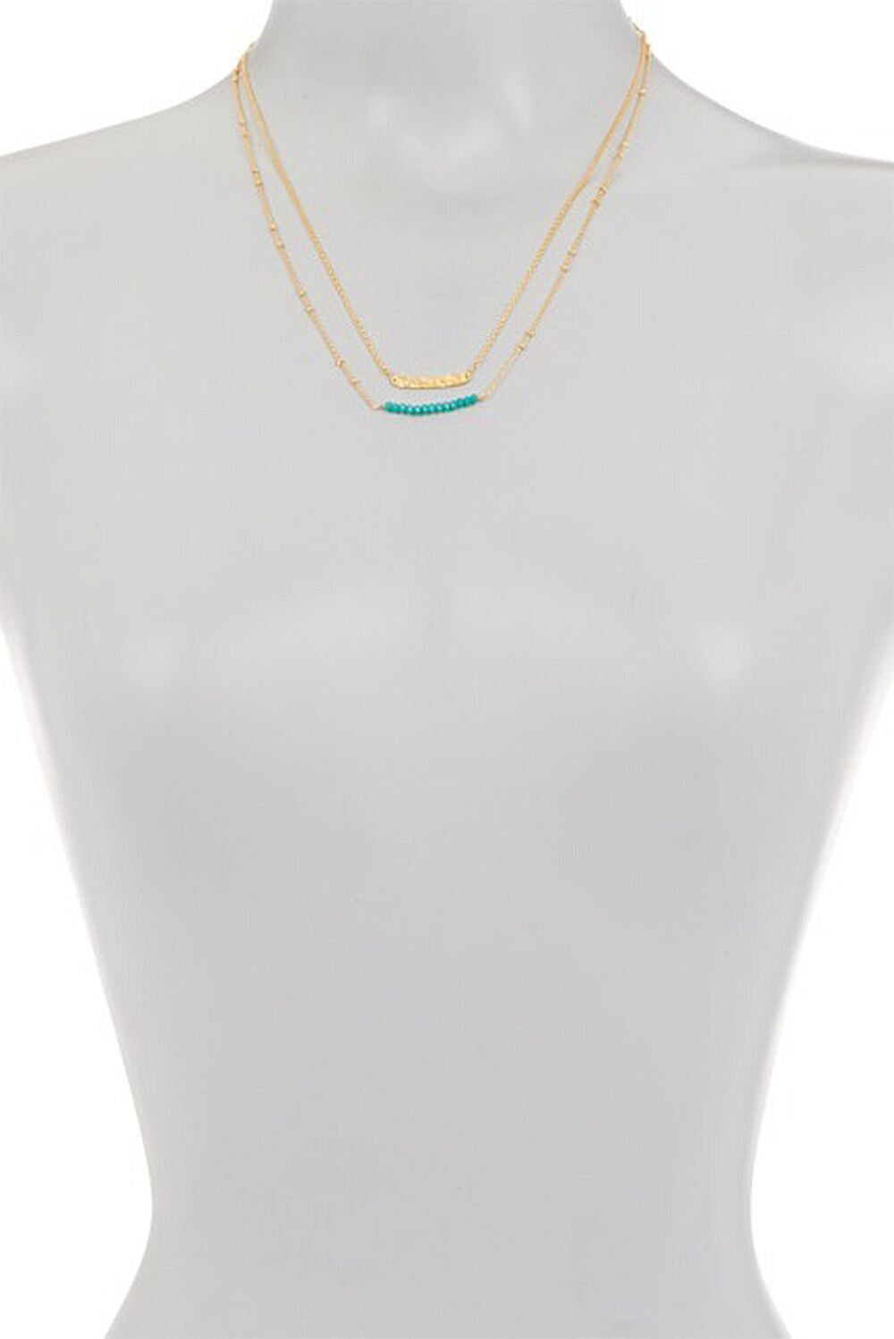 Laguna Collections Double Stranded Aqua Chalcedony Stones with Bar Necklace