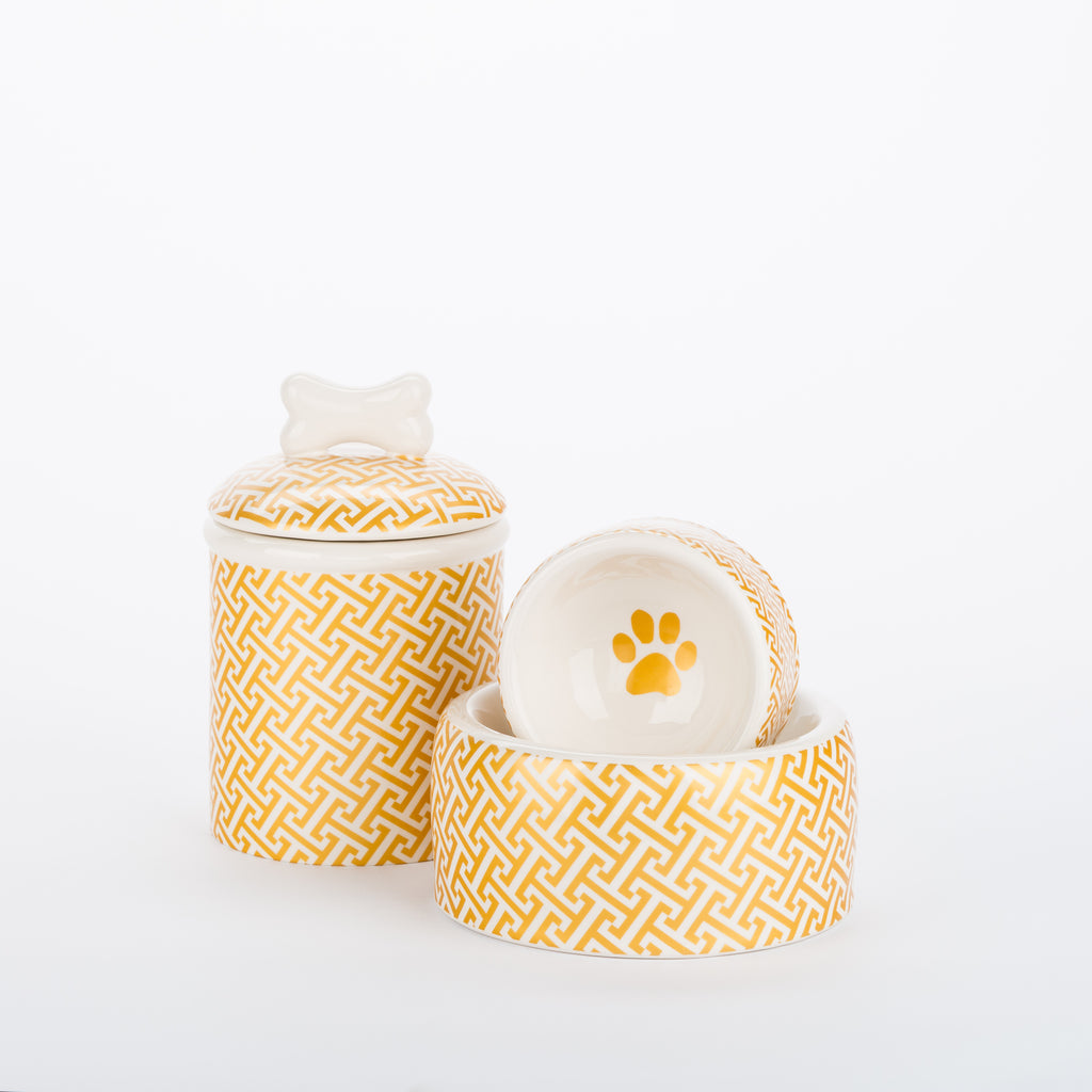 Creature Comforts Ceramic Dog Bowls & Treat Jars- Gold Trellis Collection