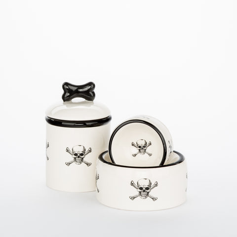 Creature Comforts Ceramic Dog Bowls & Treat Jars- Skull & Crossbone Collection