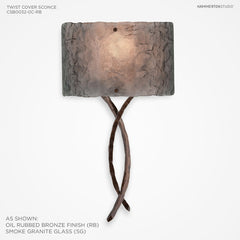 Hammerton Studio Ironwood Twist Cover Sconce W/Glass Shade