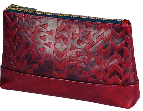 Pendleton Debossed leather zip pouch Tolovana