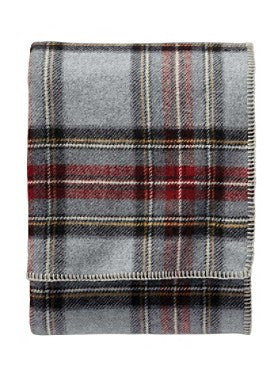 Pendleton Washable Eco-wise Wool Plaid Blanket- Grey Stewart Plaid