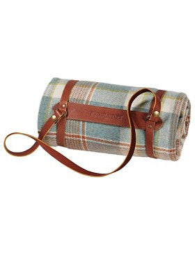 Pendleton Hampshire Plaid Lambswool Throw w/Leather Carrier- Shale Blue