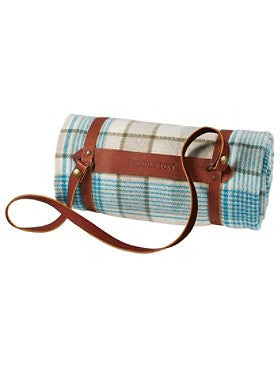 Pendleton Hampshire Plaid Lambswool Throw w/Leather Carrier- Taupe