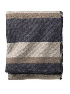 Pendleton Washable Eco-Wise Wool Blankets- Midnight Navy Stripe