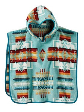 Pendleton Chief Joseph Hooded Kids' Towel- Aqua