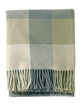 Pendleton Washable Eco-wise Wool Fringed Throw- Shale Blue/Sage