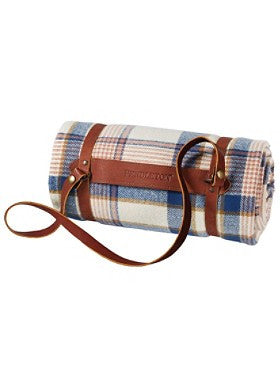 Pendleton Hampshire Plaid Lambswool Throw w/Leather Carrier- Ivory