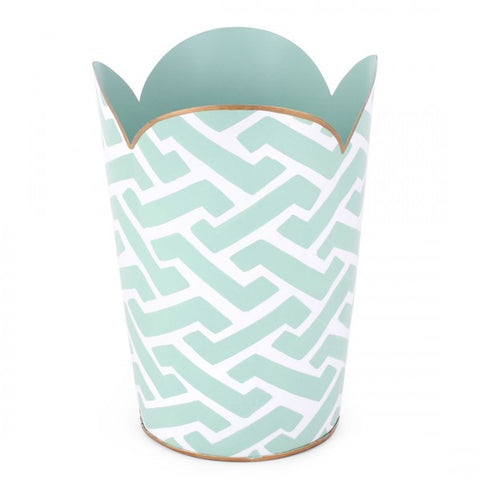 Hand Painted Toleware- Molly Blue Tulip Wastebasket