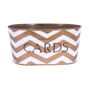 "Handpainted Toleware Chevron Gold ""CARDS"" Tub"