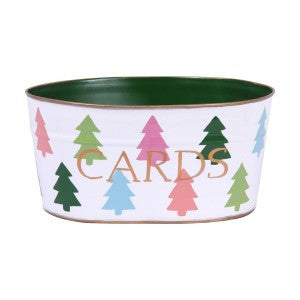 "Handpainted Toleware Colorful Trees ""CARDS"" Tub"