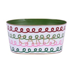 "Handpainted Toleware Squiggle Multi Color ""CARDS"" Tub"