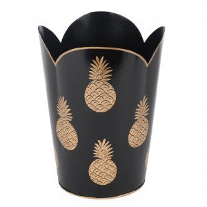 Hand Painted Toleware- Pineapple Black and Gold Tulip Wastebasket