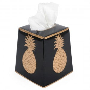 Hand Painted Toleware- Pineapple Black And Gold Tissue Box Cover