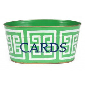 "Handpainted Toleware Greek Key Green ""CARDS"" Tub"